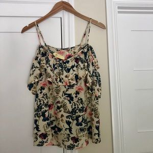 Amour Vert silk floral cold shoulder top